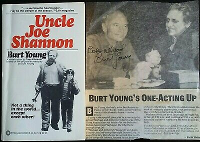 Uncle Joe Shannon Movie Tie In Burt Young 1st Print 1979 + Signed Newspaper Clip