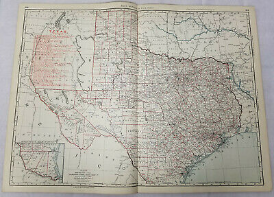 Antique Rand Mcnally & Co Business Map Colored Lithograph Texas Railroads