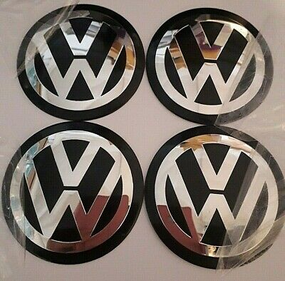4 X 90mm VW BLACK overlays/stickers/emblems ALUMINIUM EMBOSSED LOGO