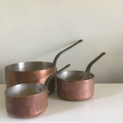 Vintage French trio set of copper pan.  Tin lined  Heavy thick quality pans
