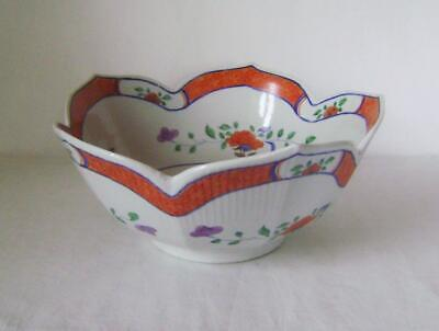 Large Chinese Porcelain Bowl : Petal Shaped Rim & Enamelled with Flowers C.20th