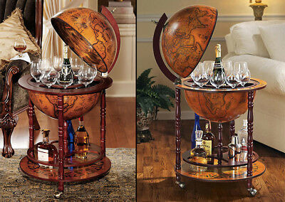 Elegant Solid Wood Vintage Italian Style Globe Mini Bar Wine Drinks Cabinet