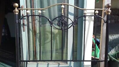 beautifully restored 5ft Victorian iron and brass  headboard
