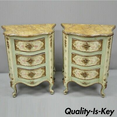 Pair of Italian Venetian Petite 3 Drawer Painted Bombe Commode Nightstands Table