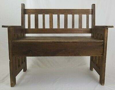 Vintage mission style wooden Bench with lift up seat storage rustic primitive