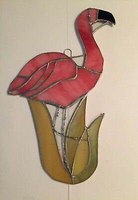 """Flamingo(large) Bird-Stained Glass - Handcrafted - Sun catcher - 11'' x 8""""in"""