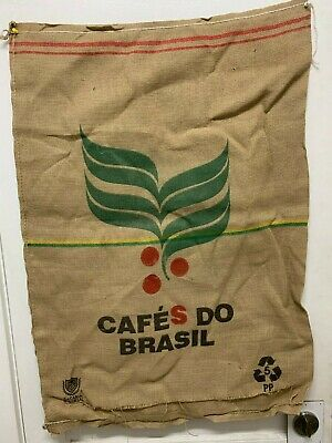 NuCoffee CafeS Do BRASIL Brazil Coffee Bean Jute Burlap Sack Bag Crafts Decor.