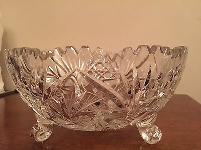 ABP Cut Glass Crystal Footed Bowl Scalloped Edges Hobstar Pineapple Triangle Fan