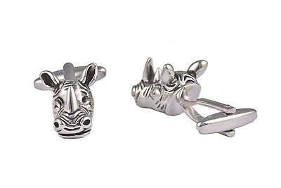 Rhino Head Cufflinks For Men Silver Animal Wildlife Wedding Black Tie Shirt