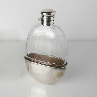Sterling Silver on Cut Glass Vanity Whiskey Bottle / Hip Flask. C1910, Removable