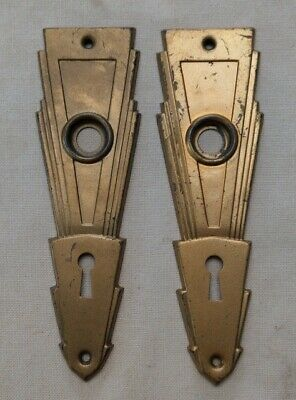 Vintage Pair of Art Deco Door Knob Backplates Very Geometric Brass Plated & Cool
