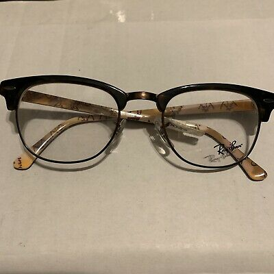4f471bdd2d Ray-Ban Eyeglasses RB 5154 5494 Clubmaster Brown Marble/Gold/Black Frames 51