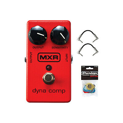 Dunlop MXR Dyna Comp Effects Pedal with 12 Pick  and R-Angle Patch Cables