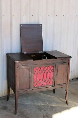 Working Antique Edison Diamond Disc Player Phonograph 37 Records Gramophone