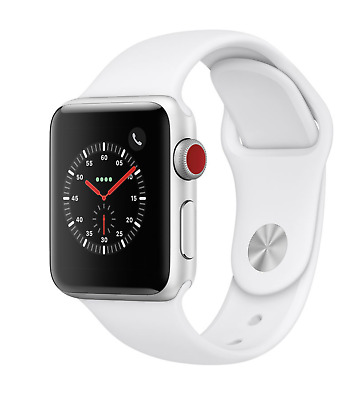 NEW Apple Watch Series 3 38mm Silver Aluminum White Sport Band (GPS + CELL)