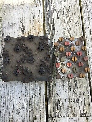 Two Antique Primitive Hand Carved Wooden Stencils For Wall Application