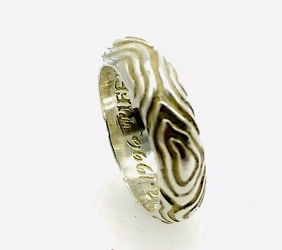 Tiffany & Co. Sterling Silver Size 6 Nature Wood Groove Band Ring 1996
