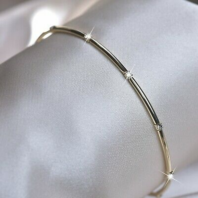 18k yellow gold made with SWAROVSKI crystal slim bangle spring bracelet cuff 2mm