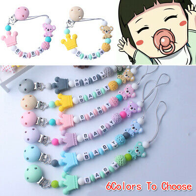 Baby Pacifier Clip Silicone Bead Chain Soother Dummy Nipple Holder Multi-color