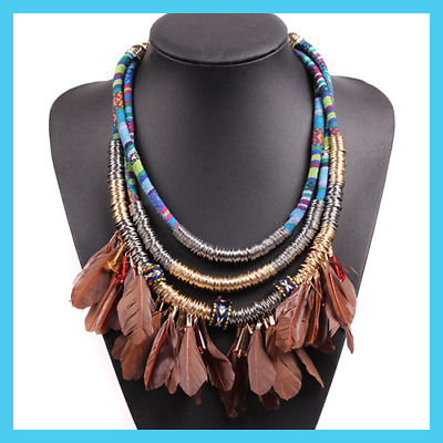 Design Vintage Rope Chain Chunky Statement Choker Collar Feather Necklace