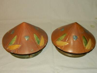 Pair Of Roseville Futura Brown Beautiful Early 20Th Century Hanging Baskets #344
