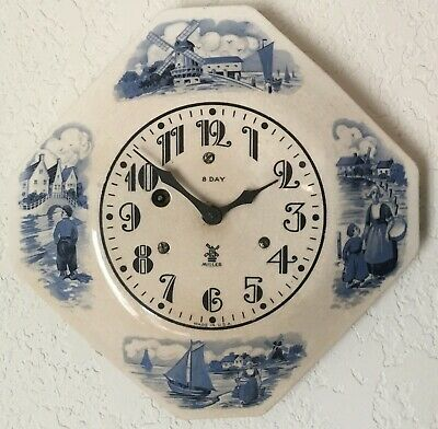 Miller 8 Day Delft Hexagon Plate Wall Clock - Dutch People