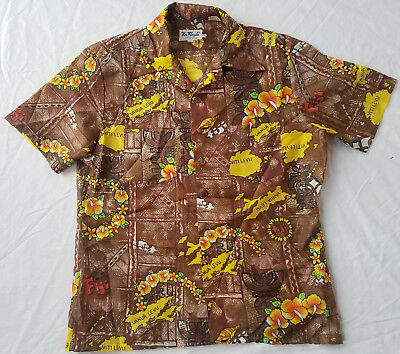 Brown Floral Short Sleeve Aloha Fiji Hawaiian Shirt - Medium Mens Vtg Beach