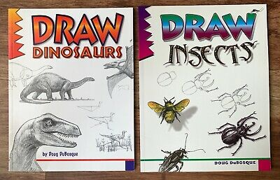 2 book bundle by Doug DuBosque: Draw Dinosaurs, and, Draw Insects