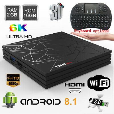 Lot T95MAX TV Box 6K 2G+16G H6 Quad Core HDMI Wifi HD Player Android8.1+Keyboard