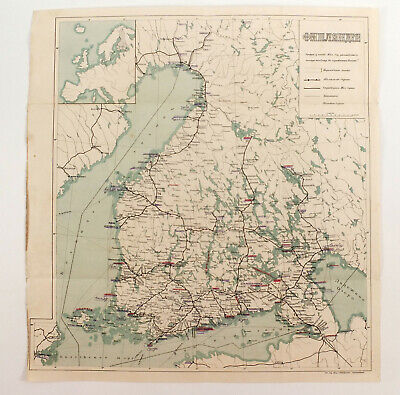 1900s Imperial Russian FINLAND Antique map of Roads and Railway roads