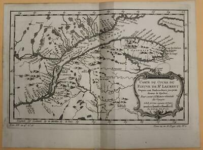 St. Lawrence River Anticosti Island Quebec Canada 1757 Bellin Antique Map