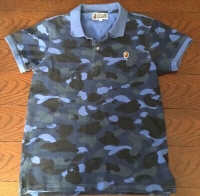 f68b266f A Bathing Ape Bape Polo Collared Camouflage Shirt Top With Ape Logo Blue L  S NWT