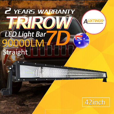 Tri Row 7D 42'' inch Cree LED Work Light Bar Combo Beam Offroad Driving Truck AU