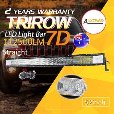 3-Row 7D 52''inch Cree LED Work Light Bar Combo Beam Offroad Driving Truck +wire