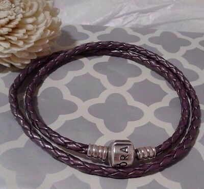 f5774eafc Pandora Authentic Purple Leather Double Wrap Cord Charm Bracelet 16 in. Rare