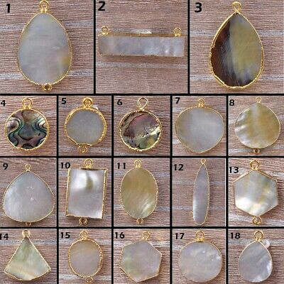 Multi-Color Natural Abalone Shell Gold Plated Single Double Bail Connector DIY