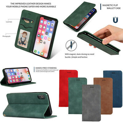 For iPhone XS Max XR X 8 7 6s Plus Flip PU Leather Wallet Card Holder Case Cover