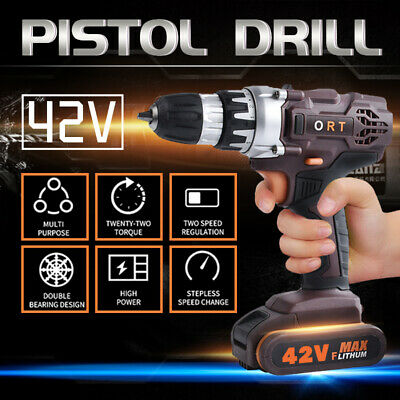 3in1 36V Cordless Drill Brushless Hammer Driver Screwdriver 2 Li-ion Battery