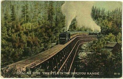 Dollar Hide Trestle Railroad Train Siskiyou Range California CA Vintage Postcard