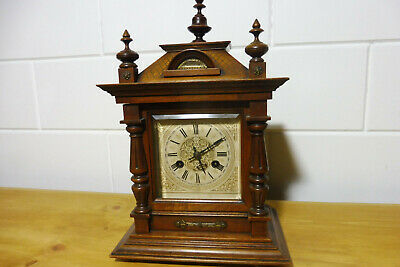 Junghans Antique Table Clock Bracket Mantel Clock Nutwood