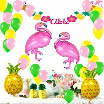 New Tropical Party Flamingo Pineapple Balloons Summer Pineapple Cupcake Toppers