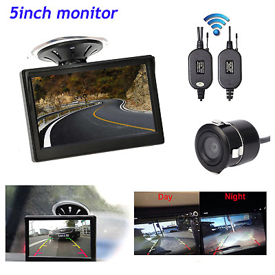 Wireless 5'' Car Auto Monitor Suction Cup 18.5 mm Backup Camera Parking System