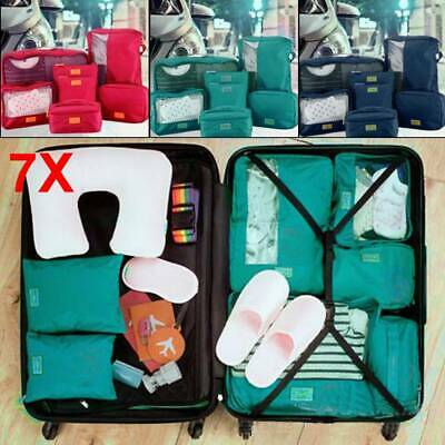 7PCS Cube Travel Luggage Storage Bag Packing Clothes Socks Makeup Organizer UK