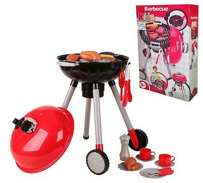 Kids Childrens Pretend BBQ Barbecue Grill Toy Role Play Set With Accessories