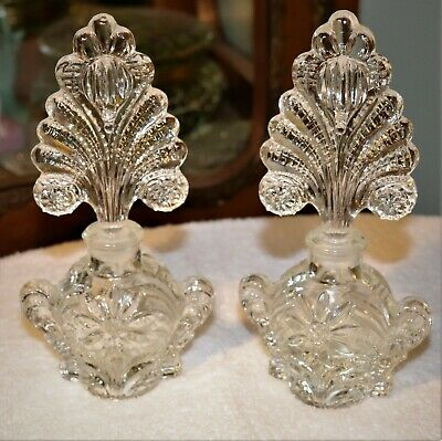 Pair Matching Perfume Bottles w/stoppers Flowers Vintage Clear Glass