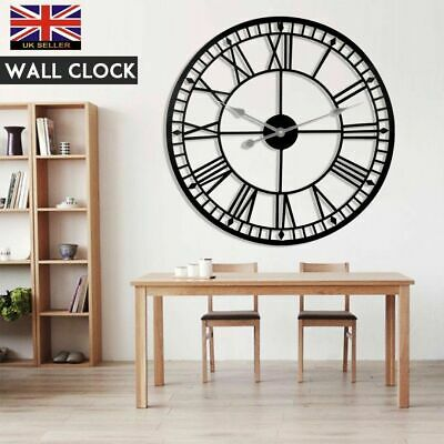 80cm Large Outdoor Home Garden Black Wrought Iron Roman Numerals Art Wall Clock