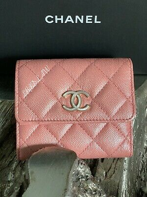 18397fbd05e5 NWT CHANEL 19S Iridescent PINK Caviar Wallet Trifold Card Holder CC Pearly  2019