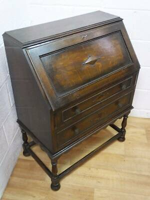 EDWARDIAN SOLID OAK FALL FRONT WRITING BUREAU, LEATHER INLAY DESK With DRAWERS.