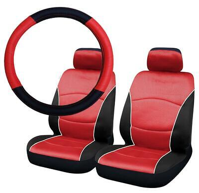UKB4C Black & Red Steering Wheel Cover & Front Seat Cover Set Airbag Safe