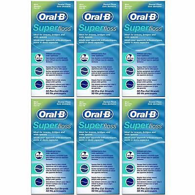 6 x Oral B Super Floss Mint Dental Floss Braces Wide Spaces 50 Pre-Cut Strands